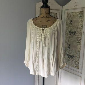 AEO cream tassel embroidered peasant blouse Sz L